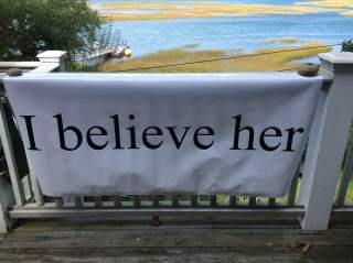 """I believe her"" Banner for #BelieveSurvivors standout, 9/27"